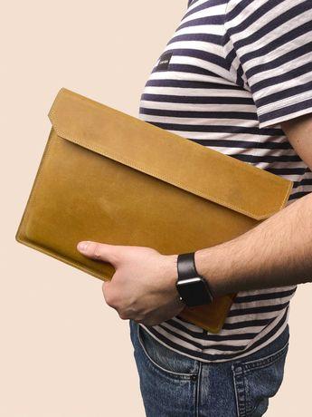 Кожаный чехол для ноутбука MacBook Air и Pro Folder кэмел цвета