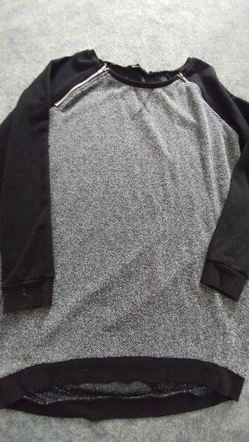 Sweter bluza z ozdobnymi zamkami Dłuższy tył szaro czarna L XL XxL