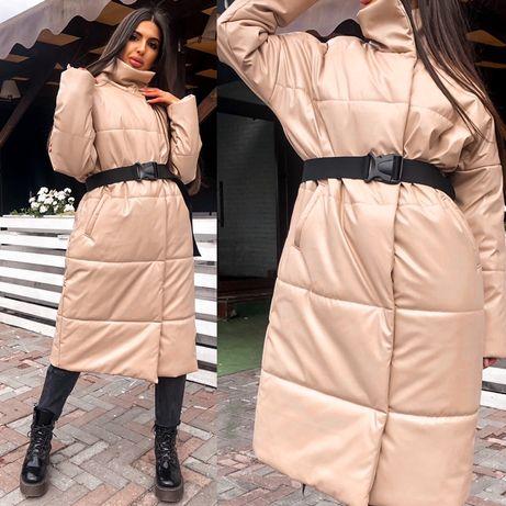 Самое стильное пальто в эко/коже
