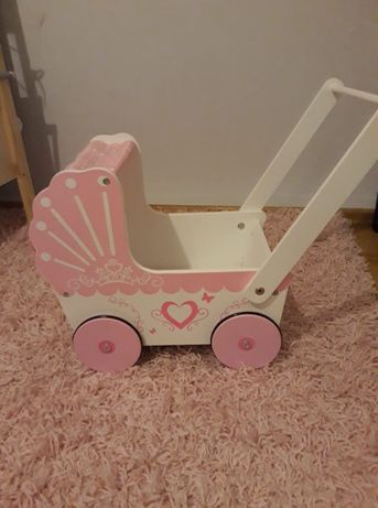Drewniany wózek dla lalek (Biały, Różowy)