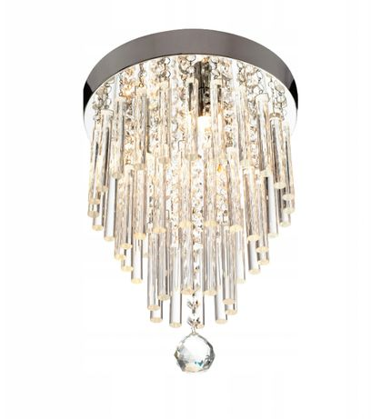 LAMPA wisząca SUFITOWA GLAMOUR Kryształowa srebrna
