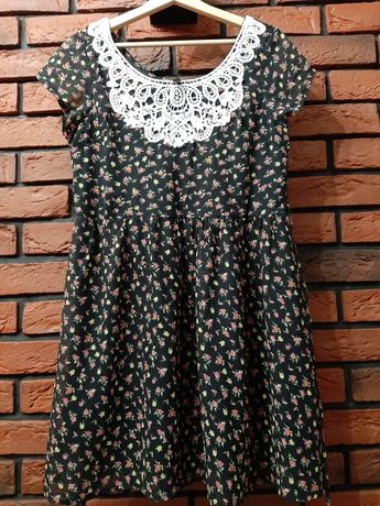 Sukienka kwiaty vintage kołnierzyk szydełko r. S m 36 38