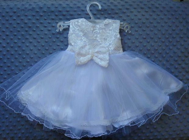 Biała sukienka na chrzest 62 komplet
