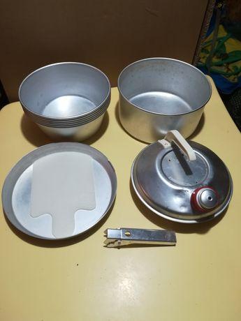 Zestaw naczynia turystyczne, aluminiowe