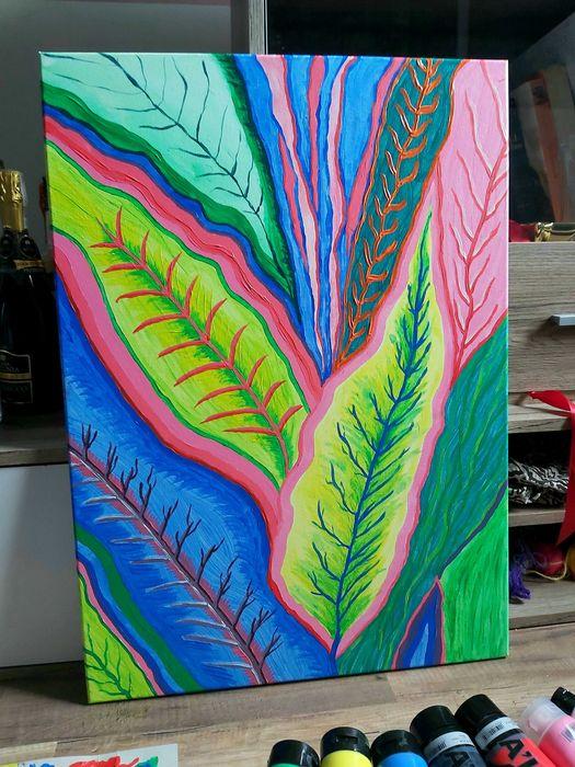 Obraz abstrakcja akrylowy kwiaty jungle kolor Poręba - image 1