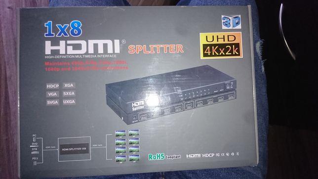 Splitter rozdzielacz 4k UHD 3D 1IN 8 OUT