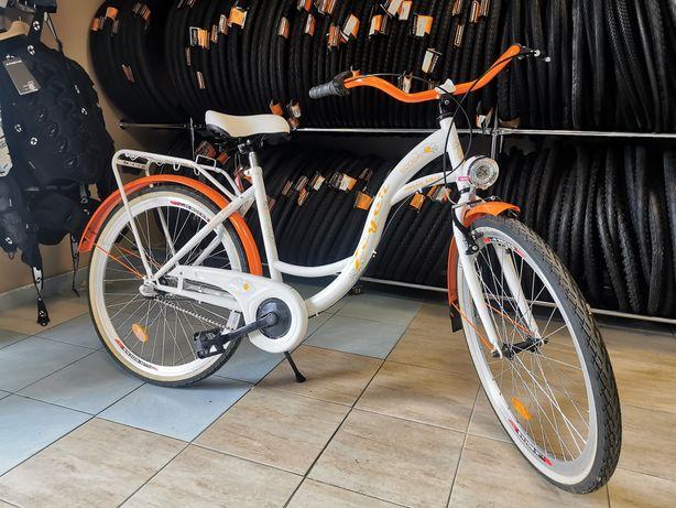 Rower miejski dla dziewczynki 26cali biało pomarańczowy