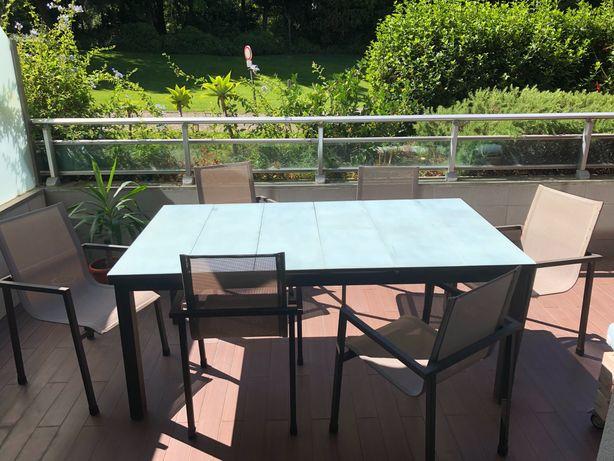 Mesa de exterior/jardim + 6 cadeiras