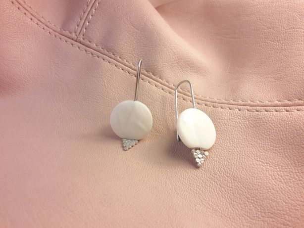 Kolczyki Srebrne+masa perłowa biżuteria