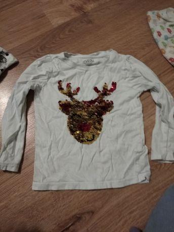 Bluzka świąteczna z cekinami renifer dla dziewczynki