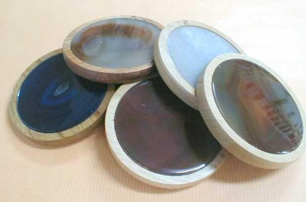 Bases de copos ágata e madeira 9,5x1cm-conj.6pçs