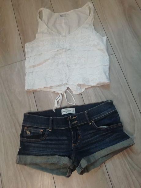 Zestaw komplet szorty spodenki jeans jeansowe plus bluzka krótka biała