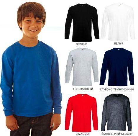 Детская футболка с длинным рукавом Лонгслив Fruit of the loom манжеты