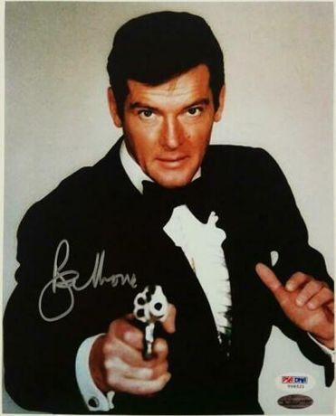 Zdjęcie oryginalny autograf Roger Moore 8x10 Bond certyfikat Beckett