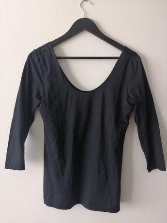 Bluzka z gumką czarna odkryte ramiona L H&M