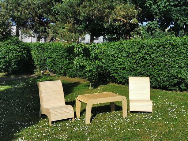 Meble ogrodowe, fotele, stoły, leżaki ze sklejki brzozowej