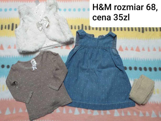 H&M sukienka, bluzeczka i futro