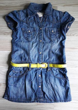 Jeansowa tunika bluzka koszula z paskiem &NOW 122