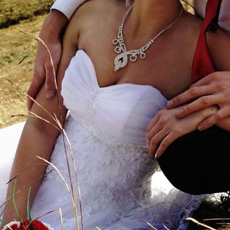Zestaw biżuterii ślubnej kolia naszyjnik kolczyki wesele ślub komunia