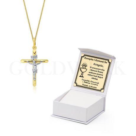 GRAWER Złoty 585 Łańcuszek z Krzyżem Krzyżykiem Złoty Krzyżyk Pancerka