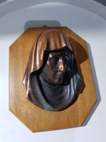 Maryja Płaskorzeźba Miedź