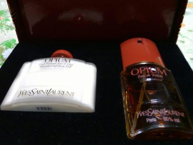 Coffret Opium Yves Saint Laurent eau toilette e creme perfumado corpo