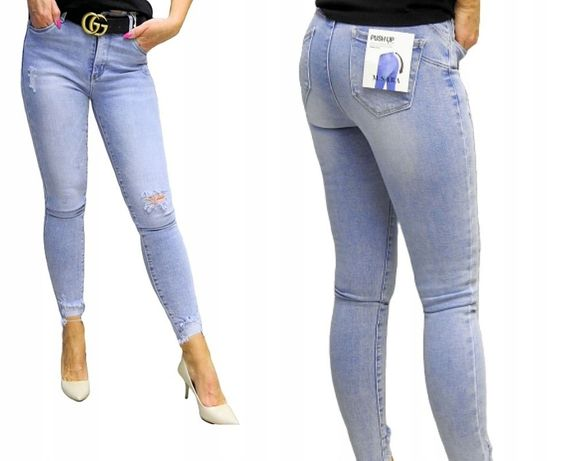 Modne Super WYGODNE Spodnie Jeansowe PUSH UP