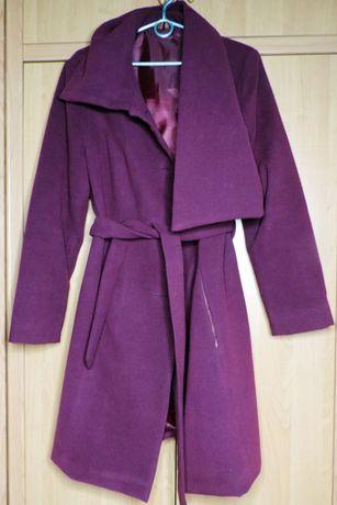 Płaszcz damski wiosenny/jesienny fioletowy wiązany