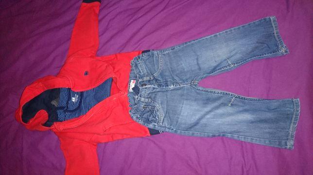 Komplet: spodnie name it, 2 body h&m, bluza z kapturem junior J, 2Y
