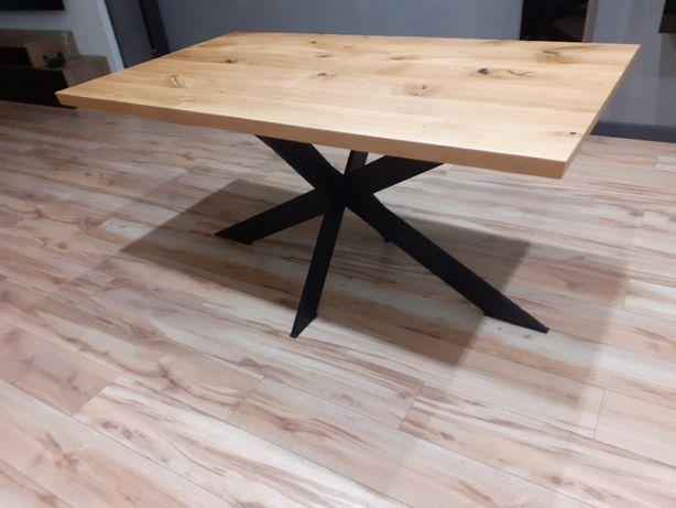 Stół Loft X blat lite drewno Meble loft na wymiar