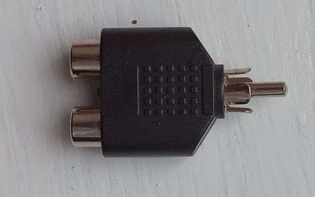 Adapter przejściówka rozgałęźnik 1xRCA cinch męski na 2xRCA żeński