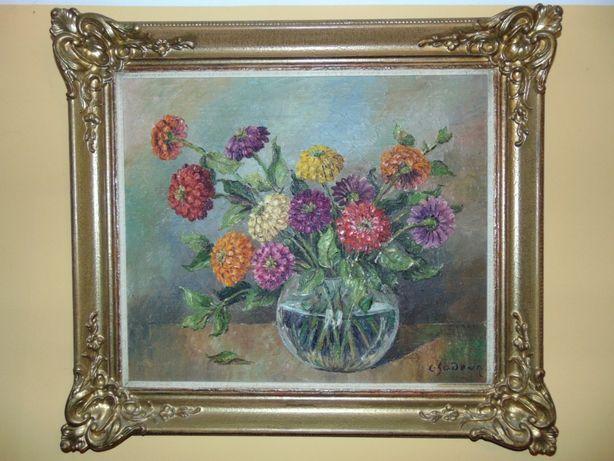 Aukcyjny obraz olejny Kwiaty w wazonie. Ch. Sodeur 74x84cm poł. XXw.