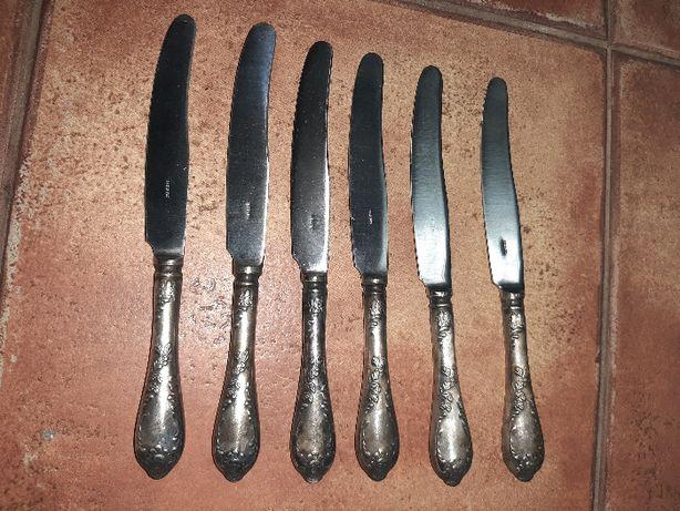 Нож ножи МНЦ ЗИШ СССР Мельхиор серебрение 6 шт новые 21 см