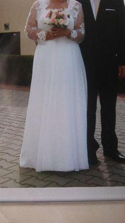 delikatna suknia ślubna,z koronką,buty,