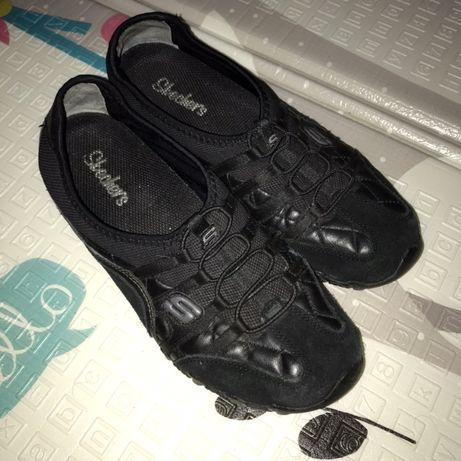 Мокасины, кроссовки женские Skechers кожа/замш чёрные 38р
