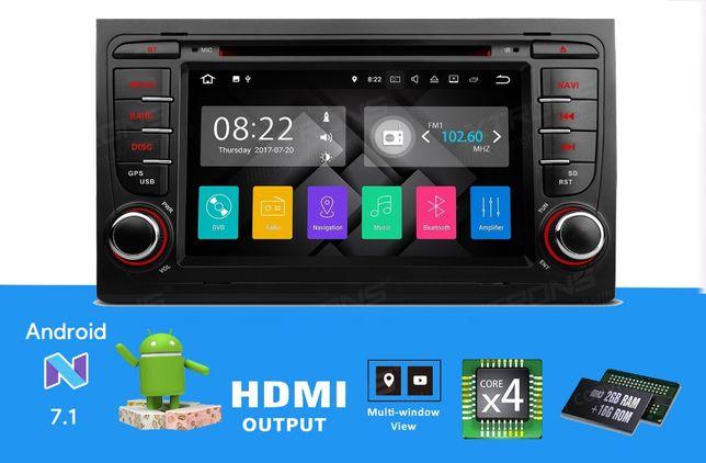 "Rádio Audi A4 Exeo Android 7.1 Quad-Core Ecrã 7""HD 2GB RAM Wifi GPS BT"