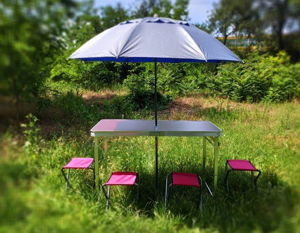 Раскладной усиленный стол для пикника 60*120 см с прочным зонтом