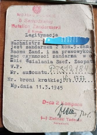 Legitymacja 3go korpusu żandarmerii LWP 1943 - 1945 Legitymacja wojsk.