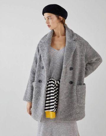 NOWY Zimowy płaszcz BERSHKA 55% wełna S/M