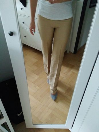 Spodnie PROMOD XS 34 złote z kantką eleganckie do pracy