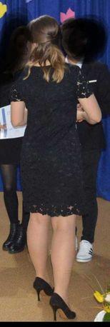 Elegnacka czarna koronkowa sukienka Orsay 38