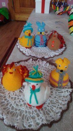 Ozdoby świąteczne, ręcznie robione - króliczki, zajączki, kurki