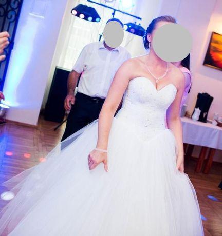 Suknia ślubna Karina, model Milana, rozmiar 36-42, biała, GRATIS koło