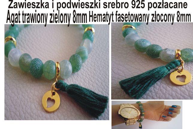 Bransoletka zielony agat/złoty hematyt 8mm srebro 925 pozłacane