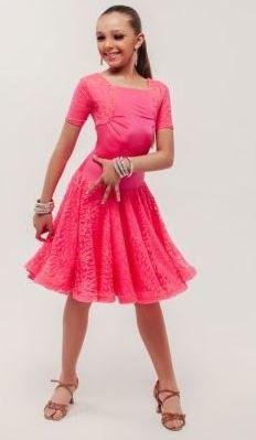 Бальное турнирное рейтинговое платье бейсик, цвет коралл, на 10-12 лет