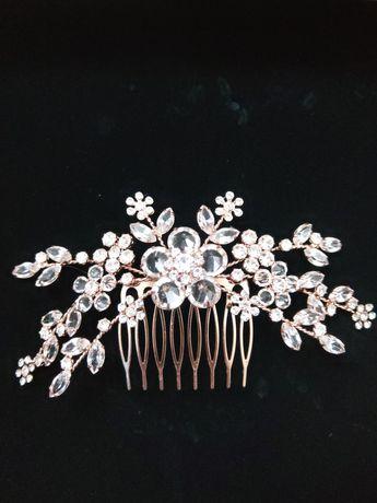 Grzebyk do włosów ślubny Rose Gold