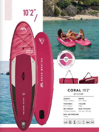"deska SUP Aqua Marina Coral 10'2"" mod. 2021 +kamizelka 50%taniej+ grat"