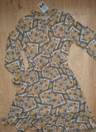 Sukienka w geometryczne kształty i kwiatki, rozmiar M, nowa z metką