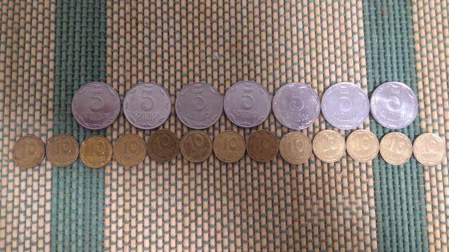 Монеты Украины 1,2,5,10 коп.Год 1992-2019.
