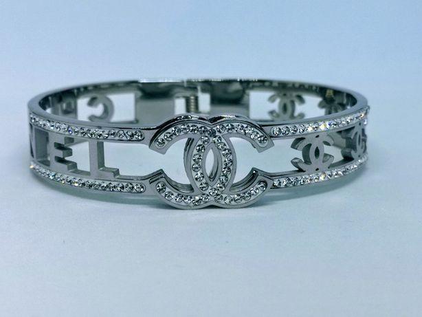 Ażurowa piękna bransoletka cc w kolorze srebrnym